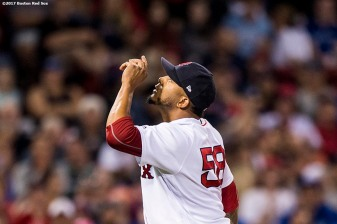 BOSTON, MA - SEPTEMBER 4: Fernando Abad #58 of the Boston Red Sox reacts during the eighth inning of a game against the Toronto Blue Jays on September 4, 2017 at Fenway Park in Boston, Massachusetts. (Photo by Billie Weiss/Boston Red Sox/Getty Images) *** Local Caption *** Fernando Abad
