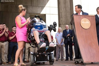 September 5, 2017, Boston, MA: Boston Red Sox chairman Tom Werner speaks alongside ALS survivor Pete Frates and his wife Julie during the proclamation of Pete Frates Day at City Hall in Boston, Massachusetts Tuesday, September 5, 2017. (Photo by Billie Weiss/Boston Red Sox)