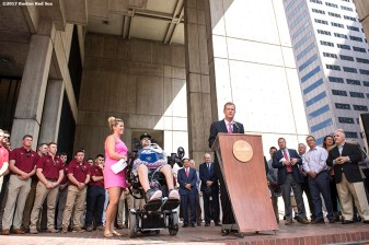 September 5, 2017, Boston, MA: Boston Red Sox President and CEO Sam Kennedy speaks alongside ALS survivor Pete Frates and his wife Julie during the proclamation of Pete Frates Day at City Hall in Boston, Massachusetts Tuesday, September 5, 2017. (Photo by Billie Weiss/Boston Red Sox)