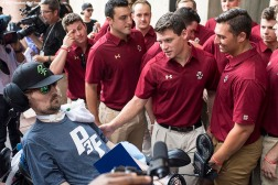 September 5, 2017, Boston, MA: Members of the Boston College baseball team greet ALS Survivor Pete Frates during the proclamation of Pete Frates Day at City Hall in Boston, Massachusetts Tuesday, September 5, 2017. (Photo by Billie Weiss/Boston Red Sox)