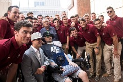 September 5, 2017, Boston, MA: Members of the Boston College baseball team pose for a photograph with ALS Survivor Pete Frates during the proclamation of Pete Frates Day at City Hall in Boston, Massachusetts Tuesday, September 5, 2017. (Photo by Billie Weiss/Boston Red Sox)
