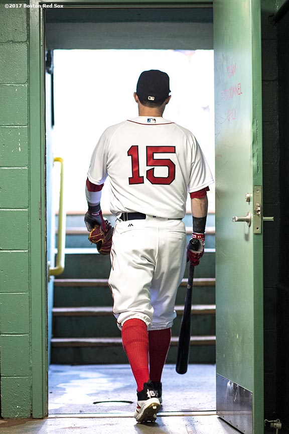BOSTON, MA - SEPTEMBER 5: Dustin Pedroia #15 of the Boston Red Sox walks out of the tunnel before a game against the Toronto Blue Jays on September 5, 2017 at Fenway Park in Boston, Massachusetts. (Photo by Billie Weiss/Boston Red Sox/Getty Images) *** Local Caption *** Dustin Pedroia