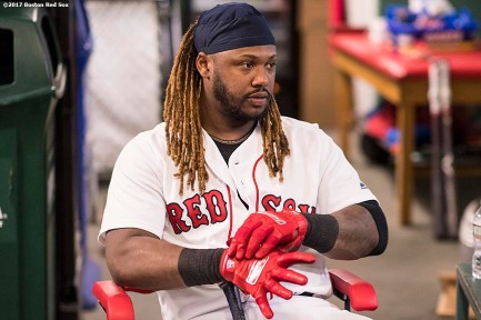 BOSTON, MA - SEPTEMBER 5: Hanley Ramirez #13 of the Boston Red Sox adjusts his batting gloves before a game against the Toronto Blue Jays on September 5, 2017 at Fenway Park in Boston, Massachusetts. (Photo by Billie Weiss/Boston Red Sox/Getty Images) *** Local Caption *** Hanley Ramirez