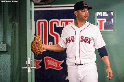 BOSTON, MA - SEPTEMBER 5: Rafael Devers #11 of the Boston Red Sox looks on before a game against the Toronto Blue Jays on September 5, 2017 at Fenway Park in Boston, Massachusetts. (Photo by Billie Weiss/Boston Red Sox/Getty Images) *** Local Caption *** Rafael Devers