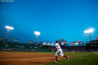 BOSTON, MA - SEPTEMBER 5: Dustin Pedroia #15 of the Boston Red Sox runs onto the field before a game against the Toronto Blue Jays on September 5, 2017 at Fenway Park in Boston, Massachusetts. (Photo by Billie Weiss/Boston Red Sox/Getty Images) *** Local Caption *** Dustin Pedroia