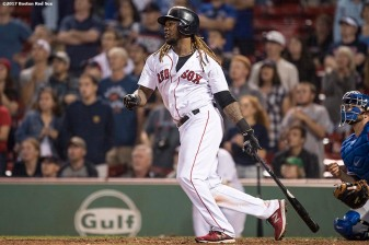 BOSTON, MA - SEPTEMBER 5: Hanley Ramirez #13 of the Boston Red Sox hits a game winning walk-off single during the nineteenth inning of a game against the Toronto Blue Jays on September 5, 2017 at Fenway Park in Boston, Massachusetts. (Photo by Billie Weiss/Boston Red Sox/Getty Images) *** Local Caption *** Hanley Ramirez