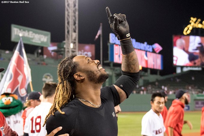 BOSTON, MA - SEPTEMBER 5: Hanley Ramirez #13 of the Boston Red Sox reacts after hitting a game winning walk-off single during the nineteenth inning of a game against the Toronto Blue Jays on September 5, 2017 at Fenway Park in Boston, Massachusetts. (Photo by Billie Weiss/Boston Red Sox/Getty Images) *** Local Caption *** Hanley Ramirez