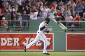 BOSTON, MA - SEPTEMBER 5: Jackie Bradley Jr. #19 of the Boston Red Sox reacts after throwing home home to catch Jose Bautista #19 of the Toronto Blue Jays tagging up in the 11th inning of a game against the Toronto Blue Jays on September 5, 2017 at Fenway Park in Boston, Massachusetts. (Photo by Billie Weiss/Boston Red Sox/Getty Images) *** Local Caption *** Jackie Bradley Jr.
