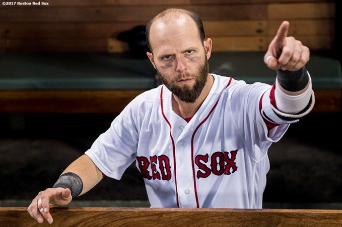 BOSTON, MA - SEPTEMBER 6: Dustin Pedroia #15 of the Boston Red Sox reacts before a game against the Toronto Blue Jays on September 6, 2017 at Fenway Park in Boston, Massachusetts. (Photo by Billie Weiss/Boston Red Sox/Getty Images) *** Local Caption *** Dustin Pedroia