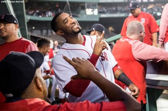BOSTON, MA - SEPTEMBER 6: Eduardo Nunez #36 of the Boston Red Sox reacts before a game against the Toronto Blue Jays on September 6, 2017 at Fenway Park in Boston, Massachusetts. (Photo by Billie Weiss/Boston Red Sox/Getty Images) *** Local Caption *** Eduardo Nunez