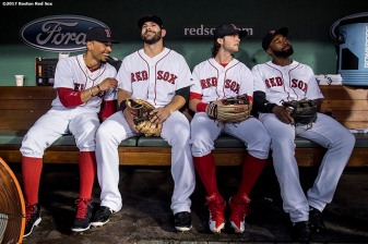 BOSTON, MA - SEPTEMBER 6: Mookie Betts #50, Mitch Moreland #18, Andrew Benintendi #16, and Jackie Bradley Jr. #19 of the Boston Red Sox sit in the dugout before a game against the Toronto Blue Jays on September 6, 2017 at Fenway Park in Boston, Massachusetts. (Photo by Billie Weiss/Boston Red Sox/Getty Images) *** Local Caption *** Mookie Betts; Mitch Moreland; Andrew Benintendi; Jackie Bradley Jr.