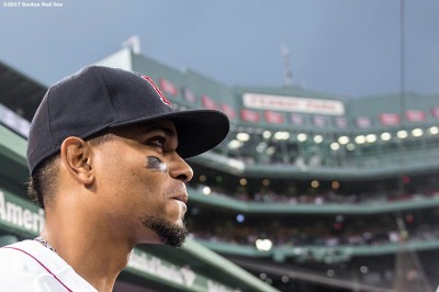 BOSTON, MA - SEPTEMBER 6: Xander Bogaerts #2 of the Boston Red Sox looks on before a game against the Toronto Blue Jays on September 6, 2017 at Fenway Park in Boston, Massachusetts. (Photo by Billie Weiss/Boston Red Sox/Getty Images) *** Local Caption *** Xander Bogaerts