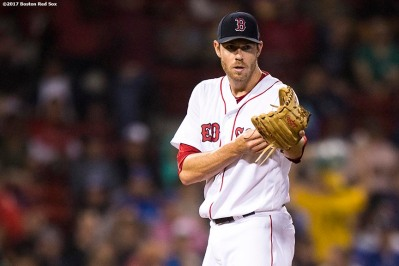 BOSTON, MA - SEPTEMBER 6: Doug Fister #38 of the Boston Red Sox reacts during the third inning of a game against the Toronto Blue Jays on September 6, 2017 at Fenway Park in Boston, Massachusetts. (Photo by Billie Weiss/Boston Red Sox/Getty Images) *** Local Caption *** Doug Fister