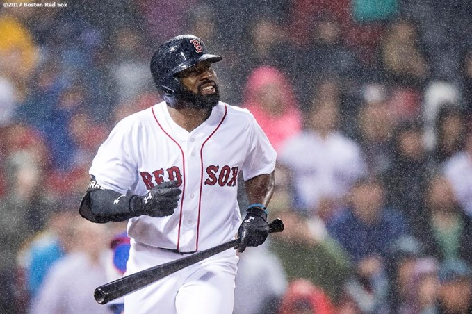 BOSTON, MA - SEPTEMBER 6: Jackie Bradley Jr. #19 of the Boston Red Sox hits a two run home run during the fourth inning of a game against the Toronto Blue Jays on September 6, 2017 at Fenway Park in Boston, Massachusetts. (Photo by Billie Weiss/Boston Red Sox/Getty Images) *** Local Caption *** Jackie Bradley Jr.