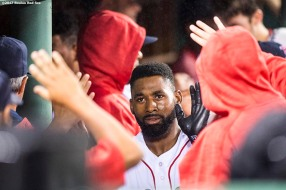 BOSTON, MA - SEPTEMBER 6: Jackie Bradley Jr. #19 of the Boston Red Sox high fives teammates after hitting a two run home run during the fourth inning of a game against the Toronto Blue Jays on September 6, 2017 at Fenway Park in Boston, Massachusetts. (Photo by Billie Weiss/Boston Red Sox/Getty Images) *** Local Caption *** Jackie Bradley Jr.