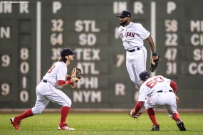 BOSTON, MA - SEPTEMBER 6: Andrew Benintendi #16, Jackie Bradley Jr. #19, and Mookie Betts #50 of the Boston Red Sox celebrate a victory against the Toronto Blue Jays on September 6, 2017 at Fenway Park in Boston, Massachusetts. (Photo by Billie Weiss/Boston Red Sox/Getty Images) *** Local Caption *** Andrew Benintendi; Jackie Bradley Jr.; Mookie Betts