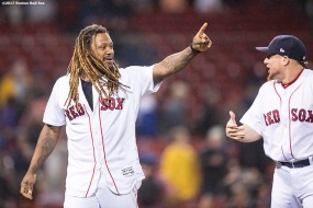 BOSTON, MA - SEPTEMBER 6: Hanley Ramirez #13 of the Boston Red Sox reacts with Christian Vazquez #7 after a game against the Toronto Blue Jays on September 6, 2017 at Fenway Park in Boston, Massachusetts. (Photo by Billie Weiss/Boston Red Sox/Getty Images) *** Local Caption *** Hanley Ramirez; Christian Vazquez
