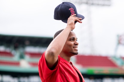 BOSTON, MA - SEPTEMBER 8: Xander Bogaerts #2 of the Boston Red Sox reacts before a game against the Tampa Bay Rays on September 8, 2017 at Fenway Park in Boston, Massachusetts. (Photo by Billie Weiss/Boston Red Sox/Getty Images) *** Local Caption *** Xander Bogaerts