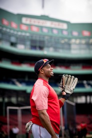 BOSTON, MA - SEPTEMBER 8: Rajai Davis #25 of the Boston Red Sox reacts before a game against the Tampa Bay Rays on September 8, 2017 at Fenway Park in Boston, Massachusetts. (Photo by Billie Weiss/Boston Red Sox/Getty Images) *** Local Caption *** Rajai Davis