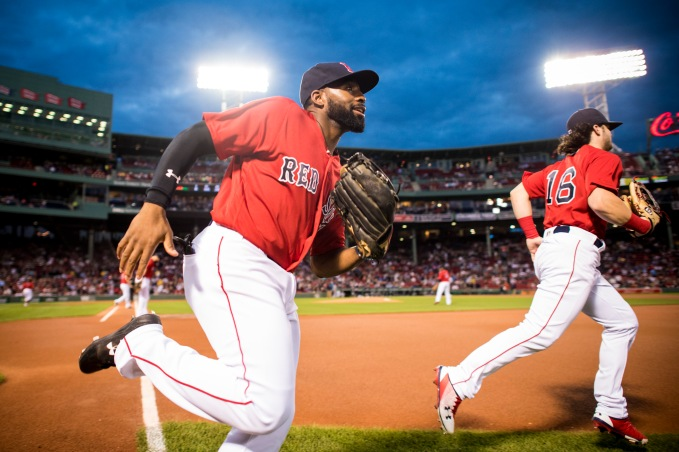 BOSTON, MA - SEPTEMBER 8: Jackie Bradley Jr. #19 and Andrew Benintendi #16 of the Boston Red Sox take the field before a game against the Tampa Bay Rays on September 8, 2017 at Fenway Park in Boston, Massachusetts. (Photo by Billie Weiss/Boston Red Sox/Getty Images) *** Local Caption *** Jackie Bradley Jr.; Andrew Benintendi