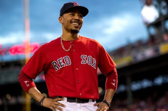 BOSTON, MA - SEPTEMBER 8: Mookie Betts #50 of the Boston Red Sox reacts before a game against the Tampa Bay Rays on September 8, 2017 at Fenway Park in Boston, Massachusetts. (Photo by Billie Weiss/Boston Red Sox/Getty Images) *** Local Caption *** Mookie Betts