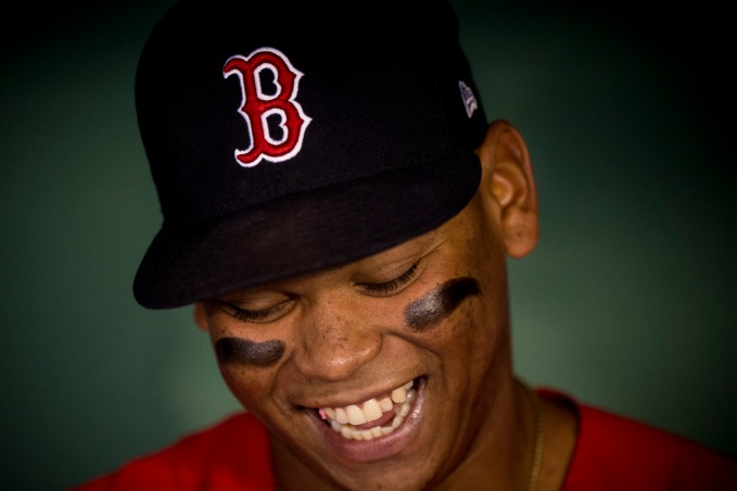 BOSTON, MA - SEPTEMBER 8: Rafael Devers #11 of the Boston Red Sox reacts before a game against the Tampa Bay Rays on September 8, 2017 at Fenway Park in Boston, Massachusetts. (Photo by Billie Weiss/Boston Red Sox/Getty Images) *** Local Caption *** Rafael Devers