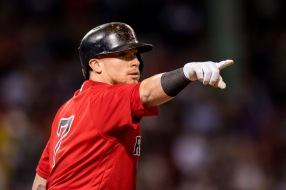 BOSTON, MA - SEPTEMBER 8: Christian Vazquez #7 of the Boston Red Sox reacts after hitting a single during the fourth inning of a game against the Tampa Bay Rays on September 8, 2017 at Fenway Park in Boston, Massachusetts. (Photo by Billie Weiss/Boston Red Sox/Getty Images) *** Local Caption *** Christian Vazquez