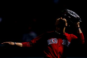 BOSTON, MA - SEPTEMBER 8: Mookie Betts #50 of the Boston Red Sox prepares to catch a fly ball during the fifth inning of a game against the Tampa Bay Rays on September 8, 2017 at Fenway Park in Boston, Massachusetts. (Photo by Billie Weiss/Boston Red Sox/Getty Images) *** Local Caption *** Mookie Betts