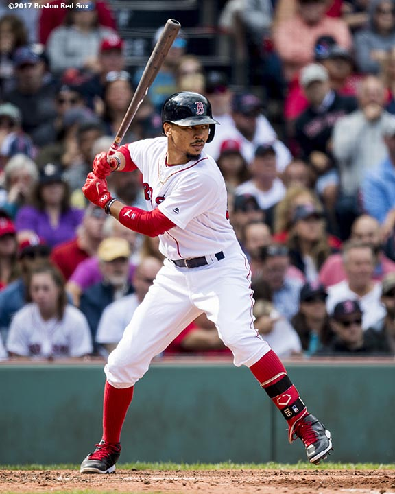 BOSTON, MA - SEPTEMBER 10: Mookie Betts #50 of the Boston Red Sox bats during the fourth inning of a game against the Tampa Bay Rays on September 10, 2017 at Fenway Park in Boston, Massachusetts. (Photo by Billie Weiss/Boston Red Sox/Getty Images) *** Local Caption *** Mookie Betts