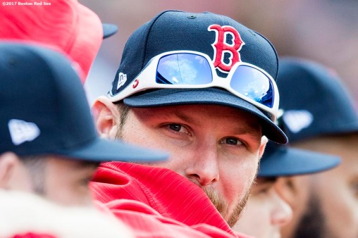 BOSTON, MA - SEPTEMBER 10: Chris Sale #41 of the Boston Red Sox looks on during the ninth inning of a game against the Tampa Bay Rays on September 10, 2017 at Fenway Park in Boston, Massachusetts. (Photo by Billie Weiss/Boston Red Sox/Getty Images) *** Local Caption *** Chris Sale