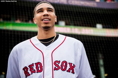 BOSTON, MA - SEPTEMBER 10: Boston Celtics first round draft pick Jayson Tatum looks on before throwing out the ceremonial first pitch before a game between the Boston Red Sox and the Tampa Bay Rays on September 10, 2017 at Fenway Park in Boston, Massachusetts. (Photo by Billie Weiss/Boston Red Sox/Getty Images) *** Local Caption *** Jayson Tatum