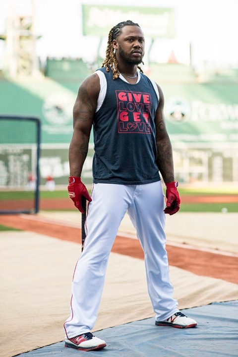 BOSTON, MA - SEPTEMBER 12: Hanley Ramirez #13 of the Boston Red Sox looks on during batting practice before a game against the Oakland Athletics on September 12, 2017 at Fenway Park in Boston, Massachusetts. (Photo by Billie Weiss/Boston Red Sox/Getty Images) *** Local Caption *** Hanley Ramirez