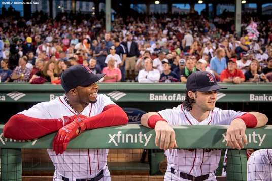 BOSTON, MA - SEPTEMBER 12: Rajai Davis #25 and Andrew Benintendi #16 of the Boston Red Sox react before a game against the Oakland Athletics on September 12, 2017 at Fenway Park in Boston, Massachusetts. (Photo by Billie Weiss/Boston Red Sox/Getty Images) *** Local Caption *** Rajai Davis; Andrew Benintendi