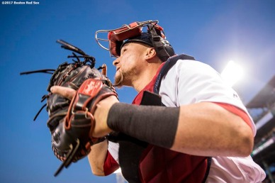 BOSTON, MA - SEPTEMBER 12: Christian Vazquez #7 of the Boston Red Sox looks on as he takes the field before a game against the Oakland Athletics on September 12, 2017 at Fenway Park in Boston, Massachusetts. (Photo by Billie Weiss/Boston Red Sox/Getty Images) *** Local Caption *** Christian Vazquez
