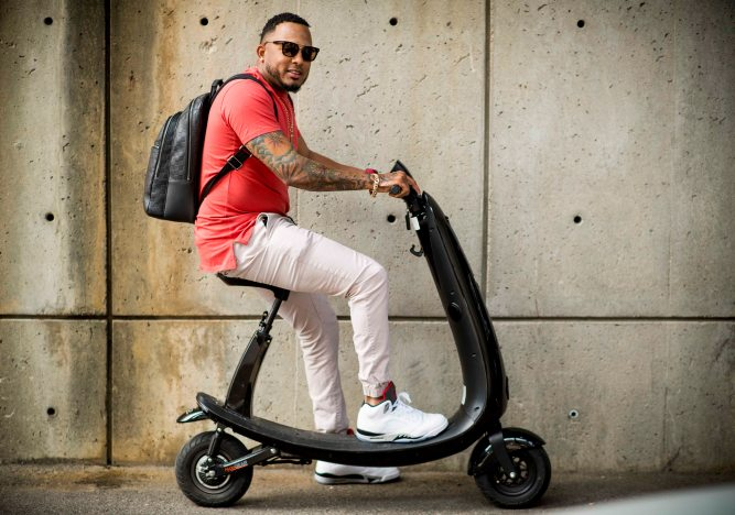 BOSTON, MA - SEPTEMBER 13: Fernando Abad #58 of the Boston Red Sox poses for a portrait after arriving to the ballpark on a scooter before a game against the Oakland Athletics on September 13, 2017 at Fenway Park in Boston, Massachusetts. (Photo by Billie Weiss/Boston Red Sox/Getty Images) *** Local Caption *** Fernando Abad