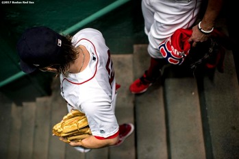 BOSTON, MA - SEPTEMBER 13: Brock Holt #12 of the Boston Red Sox walks down the stairs before a game against the Oakland Athletics on September 13, 2017 at Fenway Park in Boston, Massachusetts. (Photo by Billie Weiss/Boston Red Sox/Getty Images) *** Local Caption *** Brock Holt