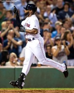 BOSTON, MA - SEPTEMBER 13: Jackie Bradley Jr. #19 of the Boston Red Sox reacts after hitting a solo home run during the fifth inning of a game against the Oakland Athletics on September 13, 2017 at Fenway Park in Boston, Massachusetts. (Photo by Billie Weiss/Boston Red Sox/Getty Images) *** Local Caption *** Jackie Bradley Jr.