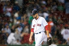 BOSTON, MA - SEPTEMBER 13: Matt Barnes #68 of the Boston Red Sox reacts as rain falls during the seventh inning of a game against the Oakland Athletics on September 13, 2017 at Fenway Park in Boston, Massachusetts. (Photo by Billie Weiss/Boston Red Sox/Getty Images) *** Local Caption *** Matt Barnes