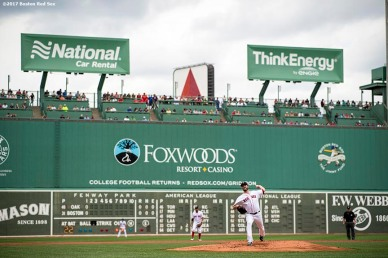 BOSTON, MA - SEPTEMBER 14: Drew Pomeranz #31 of the Boston Red Sox pitches during the second inning of a game against the Oakland Athletics on September 14, 2017 at Fenway Park in Boston, Massachusetts. (Photo by Billie Weiss/Boston Red Sox/Getty Images) *** Local Caption *** Drew Pomeranz