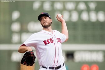 BOSTON, MA - SEPTEMBER 14: Drew Pomeranz #31 of the Boston Red Sox pitches during the first inning of a game against the Oakland Athletics on September 14, 2017 at Fenway Park in Boston, Massachusetts. (Photo by Billie Weiss/Boston Red Sox/Getty Images) *** Local Caption *** Drew Pomeranz