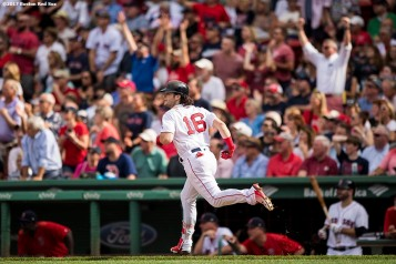 BOSTON, MA - SEPTEMBER 14: Andrew Benintendi #16 of the Boston Red Sox rounds the bases after hitting a go-ahead RBI double during the sixth inning of a game against the Oakland Athletics on September 14, 2017 at Fenway Park in Boston, Massachusetts. (Photo by Billie Weiss/Boston Red Sox/Getty Images) *** Local Caption *** Andrew Benintendi