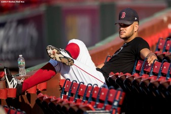 BOSTON, MA - SEPTEMBER 25: Edaurdo Rodriguez #52 of the Boston Red Sox sits in the seats before a game against the Toronto Blue Jays on September 25, 2017 at Fenway Park in Boston, Massachusetts. (Photo by Billie Weiss/Boston Red Sox/Getty Images) *** Local Caption *** Eduardo Rodriguez