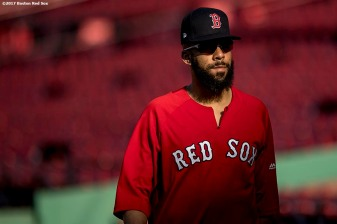 BOSTON, MA - SEPTEMBER 25: David Price #24 of the Boston Red Sox warms up before a game against the Toronto Blue Jays on September 25, 2017 at Fenway Park in Boston, Massachusetts. (Photo by Billie Weiss/Boston Red Sox/Getty Images) *** Local Caption *** David Price