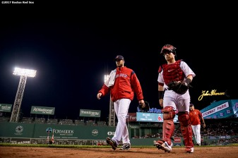 BOSTON, MA - SEPTEMBER 25: Drew Pomeranz #31 and Christian Vazquez #7 of the Boston Red Sox walk toward the dugout before a game against the Toronto Blue Jays on September 25, 2017 at Fenway Park in Boston, Massachusetts. (Photo by Billie Weiss/Boston Red Sox/Getty Images) *** Local Caption *** Drew Pomeranz; Christian Vazquez