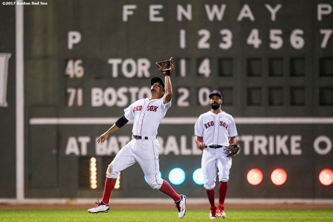 BOSTON, MA - SEPTEMBER 25: Xander Bogaerts #2 of the Boston Red Sox catches a fly ball during the third inning of a game against the Toronto Blue Jays on September 25, 2017 at Fenway Park in Boston, Massachusetts. (Photo by Billie Weiss/Boston Red Sox/Getty Images) *** Local Caption *** Xander Bogaerts