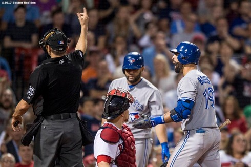 BOSTON, MA - SEPTEMBER 25: Jose Bautista #19 of the Toronto Blue Jays is ejected from the game as he argues with home plate umpire Chad Fairchild #4 during the eighth inning of a game against the Boston Red Sox on September 25, 2017 at Fenway Park in Boston, Massachusetts. (Photo by Billie Weiss/Boston Red Sox/Getty Images) *** Local Caption *** Jose Bautista; Chad Fairchild