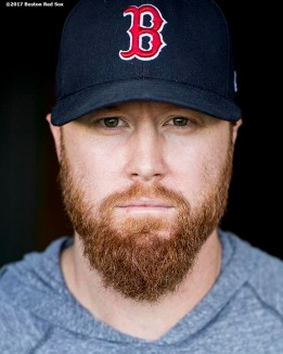 BOSTON, MA - SEPTEMBER 26: Blaine Boyer #51 of the Boston Red Sox poses for a portrait before a game against the Toronto Blue Jays on September 26, 2017 at Fenway Park in Boston, Massachusetts. (Photo by Billie Weiss/Boston Red Sox/Getty Images) *** Local Caption *** Blaine Boyer