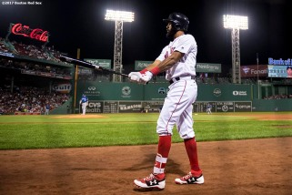 BOSTON, MA - SEPTEMBER 26: Chris Young #30 of the Boston Red Sox warms up on deck during the first inning of a game against the Toronto Blue Jays on September 26, 2017 at Fenway Park in Boston, Massachusetts. (Photo by Billie Weiss/Boston Red Sox/Getty Images) *** Local Caption *** Chris Young