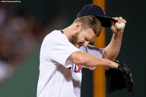 BOSTON, MA - SEPTEMBER 26: Chris Sale #41 of the Boston Red Sox reacts during the first inning of a game against the Toronto Blue Jays on September 26, 2017 at Fenway Park in Boston, Massachusetts. (Photo by Billie Weiss/Boston Red Sox/Getty Images) *** Local Caption *** Chris Sale