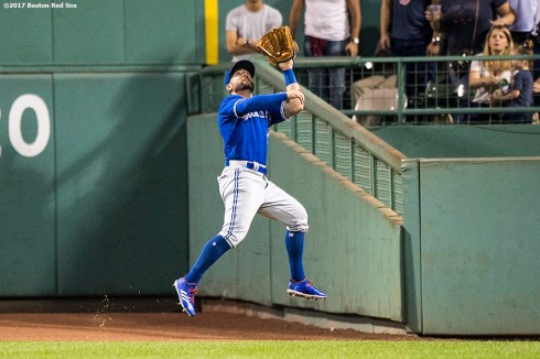 BOSTON, MA - SEPTEMBER 26: Kevin Pillar #11 of the Toronto Blue Jays leaps as he catches a line drive during the seventh inning of a game against the Boston Red Sox on September 26, 2017 at Fenway Park in Boston, Massachusetts. It was his second home run of the game. (Photo by Billie Weiss/Boston Red Sox/Getty Images) *** Local Caption *** Kevin Pillar
